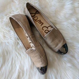 Sam Edelman tan, shiny toe flats